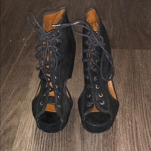 Lace up combat wedge heel